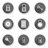 Codifichi l'insieme moderno piano dell'icona di chiave del lucchetto della serratura Fotografia Stock