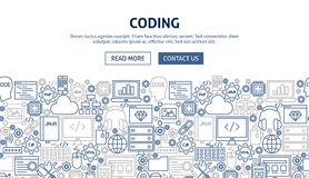 Coding Banner Design. Vector Illustration of Line Web Concept Royalty Free Stock Photography
