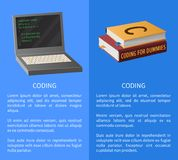 Coding Banner with Portable Computer and Textbooks. Coding banner with portable computer and thick textbooks for informatics studies vector illustration with Stock Images