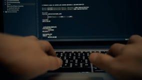 Coding code program programming compute coder work write software hacker develop man concept - stock image.  stock video