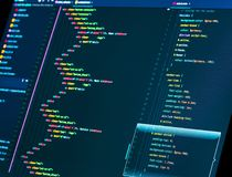 Coding HTML and css in the editor, close up. Web or application development. Website design. Coding HTML and css in the editor, macro. Web or application stock images
