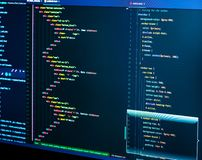 Coding html and css in IDE, macro. Web development. Software source code stock images