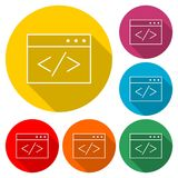 Coding icon, color icon with long shadow. Simple vector icons set Royalty Free Stock Photography