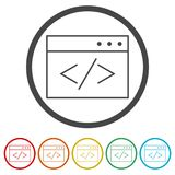 Coding icon, 6 Colors Included. Simple  icons set Royalty Free Stock Image