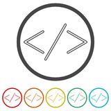 Coding icon, 6 Colors Included. Simple  icons set Royalty Free Stock Photos