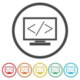 Coding icon, 6 Colors Included. Simple vector icons set Royalty Free Stock Images
