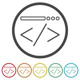 Coding icon, 6 Colors Included. Simple vector icons set Royalty Free Stock Photo