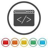 Coding icon, 6 Colors Included. Simple vector icons set Stock Image