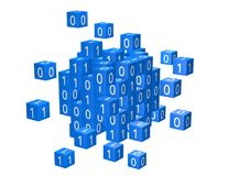 Coding, informatics concept with zeroes and ones. Coding, informatics concept with zeroes and ones on building blocks 3D illustration Royalty Free Stock Photos