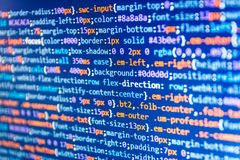 IT coding on monitor screen. JavaScript code in text editor. Website design. Writing programming functions on laptop royalty free illustration