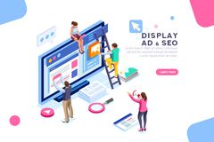 Display Campaign Coding People Flat Isometric Banner vector illustration