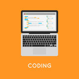Coding php or html on laptop. Programming Stock Photo