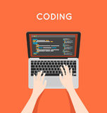 Coding php or html on laptop. Programming Stock Images