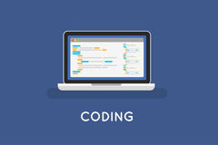 Coding php or html on laptop. Programming Royalty Free Stock Photo