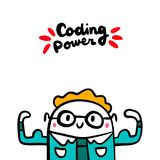 Coding power hand drawn vector illustration in cartoon style. Programmer strong