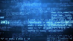 Coding Program With Encryption Symbols. An advanced 3d illustration of a coding program with flying blue letters, digits, curly and round brackets, angle quotes Stock Images