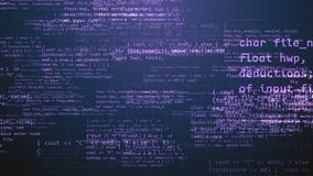 Coding Program With Violet Messages. A multidimensional 3d illustration of a coding program with light violet texts, formulas, digits, pluses, minuses, equals Royalty Free Stock Images