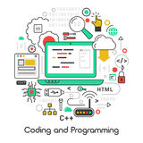 Coding and Programming Line Art Thin Icons