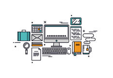 Coding and programming line style illustration stock illustration