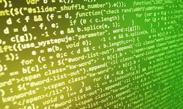 Coding programming source code screen. Colorful abstract data display. Software developer web program script. Stock Image