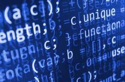 Coding programming source code screen. Colorful abstract data display. Software developer web program script. Programming code abstract screen of software Stock Photography