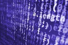 Coding programming source code screen. Colorful abstract data display. Software developer web program script. Stock Photos