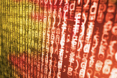 Coding programming source code screen. Colorful abstract data display. Software developer web program script. Stock Photo
