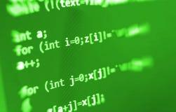 Coding programming source code screen. Colorful abstract data display. Software developer web program script. Stock Image