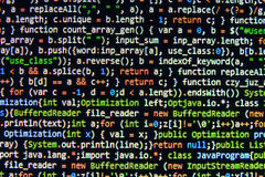Coding programming source code screen. Colorful abstract data display. Software developer web program script. Royalty Free Stock Image