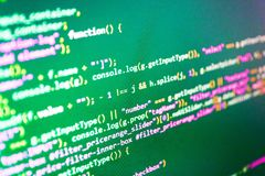 Coding script text on screen. Admin access to data source. Coding script text on screen royalty free stock image