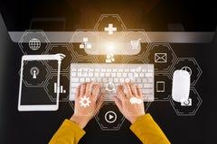 Businesswoman hand working digital marketing media vector illustration
