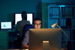 Coding young man royalty free stock photography