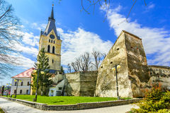 Codlea fortified medieval church, Romania stock photo