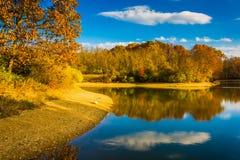 在湖马尔堡, Codorus国家公园,宾夕法尼亚的秋天颜色 图库摄影