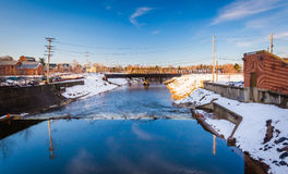 Codorus Creek in downtown York, Pennsylvania. Royalty Free Stock Image