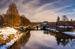 Codorus Creek in downtown York, Pennsylvania. Royalty Free Stock Photos