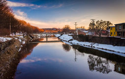 Codorus Creek at sunset in downtown York, Pennsylvania. Royalty Free Stock Images
