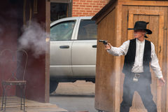 CODY - USA - 21. August 2012 - Buffalo Bill-Schießerei bei Irma Hotel Lizenzfreie Stockfotos