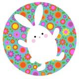 Coelhinho da Páscoa bonito na forma do círculo com teste padrão floral foto de stock