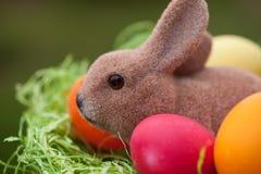 Coelhinho da Páscoa com ovos da páscoa em um ninho foto de stock