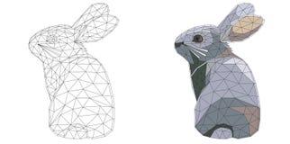 Coelhinho da Páscoa do mosaico para colorir e projeto com exemplo Isolado no fundo branco Foto de Stock Royalty Free