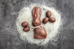 Coelhinho da Páscoa e ovos do chocolate em um ninho no fundo rústico Imagens de Stock Royalty Free