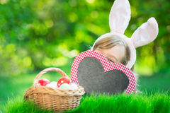Coelhinho da Páscoa e ovos na grama verde Imagens de Stock