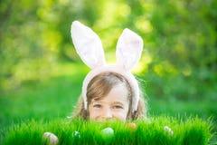 Coelhinho da Páscoa e ovos na grama verde Fotografia de Stock