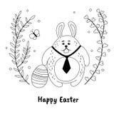 Coelhinho da Páscoa engraçado e ovo pintado no estilo desenhado à mão Molde preto e branco do projeto de cartão de easter Fotografia de Stock Royalty Free