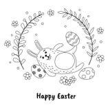 Coelhinho da Páscoa engraçado e ovos pintados no estilo desenhado à mão Ilustração preto e branco do vetor Fotos de Stock Royalty Free