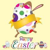Coelhinho da Páscoa feliz com ovo grande Pouco presente na Páscoa Dia da Páscoa do vetor no fundo amarelo Imagens de Stock