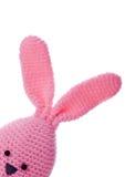 Coelhinho da Páscoa handmade cor-de-rosa de lãs foto de stock royalty free