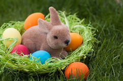 Coelhinho da Páscoa no ninho com ovos da páscoa coloridos fotografia de stock royalty free