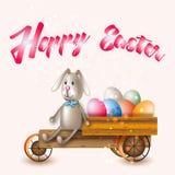 Coelhinho da Páscoa pelo carro ilustração stock